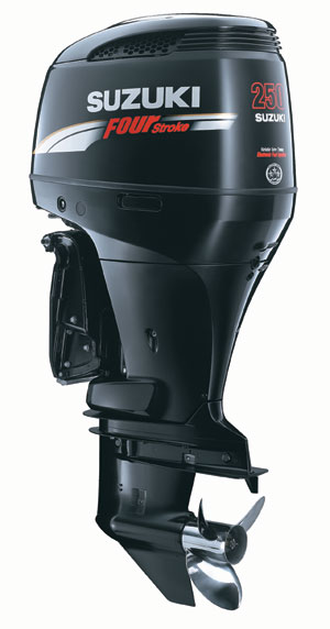 suzuki marine's v6 family of outboard motors rated 200, 225 and 250 horsepower.