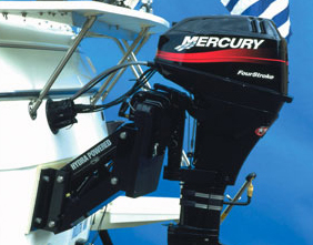 Garelick Hydra mount provides the foundation for the Mercury BigFoot 9.9 horsepower sail motor